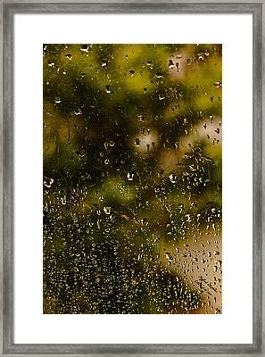 Rain Drops On My Window Framed Print by Itzhak Richter