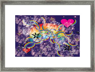 Framed Print featuring the digital art Rainbow Space by Kim Prowse