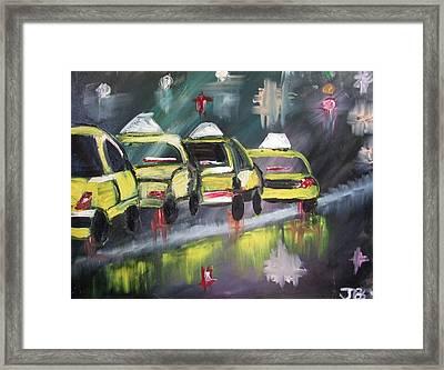 Rainy Park Avenue Framed Print by Janel Bragg