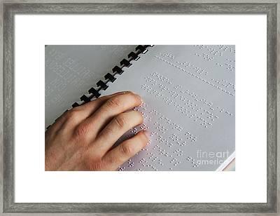Reading Braille Framed Print