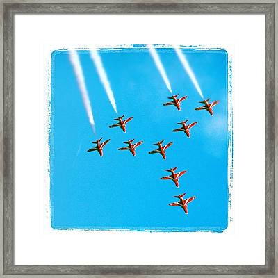 Red Arrows Airshow - Aircrafts Flying In Formation Framed Print