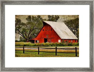 Red Barn Framed Print by Joan Bertucci