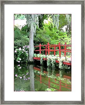 Red Bridge Framed Print by Mindy Newman
