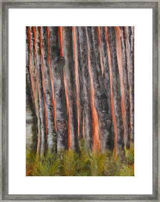 Framed Print featuring the painting Red Moon Night by Annamarie Sidella-Felts