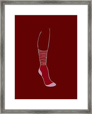 Red Sock Framed Print by Frank Tschakert
