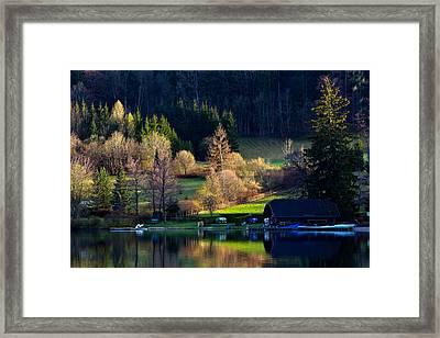 Reflex On Fushl Lake Salzburg Austria Framed Print by Arthit Somsakul