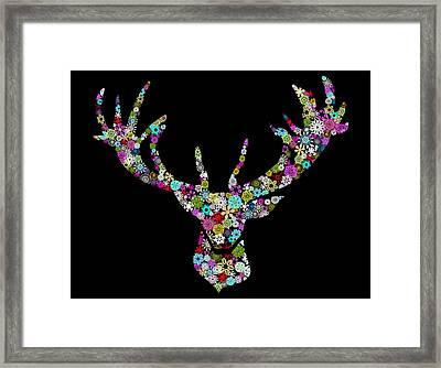 Reindeer Design By Snowflakes Framed Print