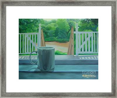 Framed Print featuring the painting Relaxing By Cooper River by Diana Riukas