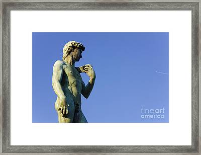 Replica Of Michelangelos David In The Piazza Michelangelo Framed Print by Jeremy Woodhouse