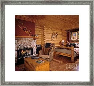 Resort Log Cabin Interior Framed Print by Robert Pisano