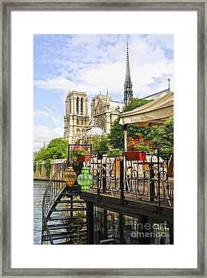 Restaurant On Seine Framed Print by Elena Elisseeva