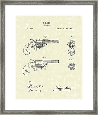 Revolver 1863 Patent Art Framed Print by Prior Art Design