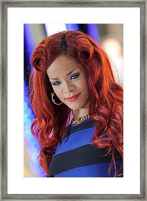 Rihanna At Talk Show Appearance For Nbc Framed Print by Everett