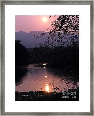 Romantic Afternoon By The Lake Framed Print by Yali Shi