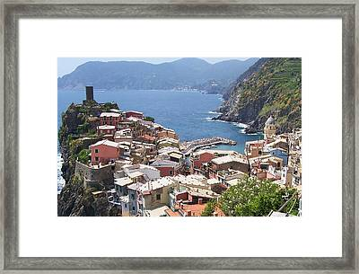 Rooftops Of Vernazza Cinque Terre Italy Framed Print by Marilyn Dunlap