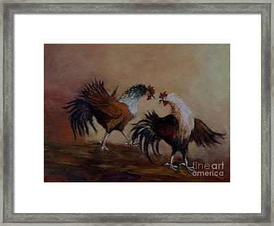 Rooster Fight Framed Print