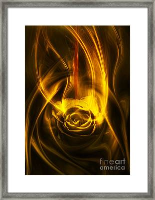 Rose With Red Flow Framed Print