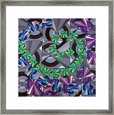 Rotation 1 Cool Colors Framed Print by Cynthia Morse