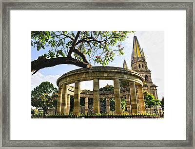 Rotunda Of Illustrious Jalisciences And Guadalajara Cathedral Framed Print