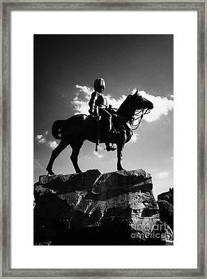 Royal Scots Greys Boer War Monument In Princes Street Gardens Edinburgh Scotland Uk United Kingdom Framed Print by Joe Fox