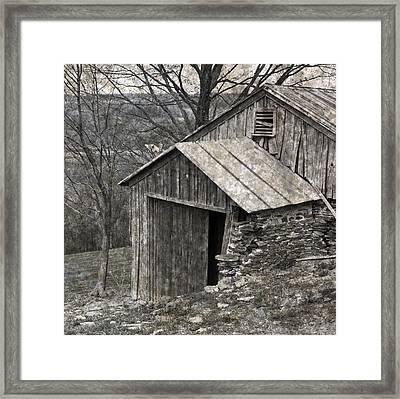 Rustic Hillside Barn Closeup Framed Print by John Stephens