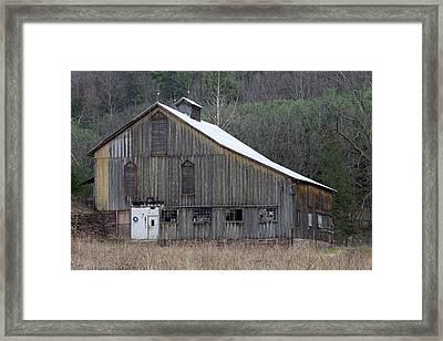 Rustic Weathered Mountainside Cupola Barn Framed Print by John Stephens