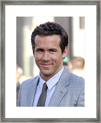 Ryan Reynolds At Arrivals For Green Framed Print by Everett