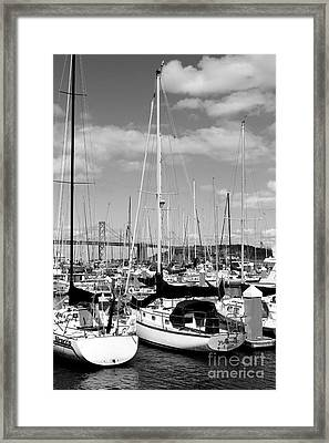 Sail Boats At San Francisco China Basin Pier 42 With The Bay Bridge In The Background . 7d7685 Framed Print