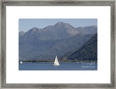 Sailing Boat And Mountain Framed Print by Mats Silvan