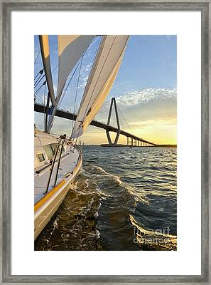 Sailing On The Charleston Harbor During Sunset Framed Print by Dustin K Ryan
