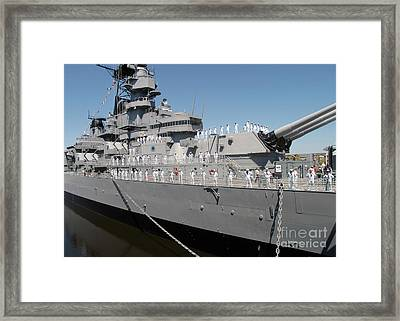 Sailors Man The Rails Framed Print by Stocktrek Images