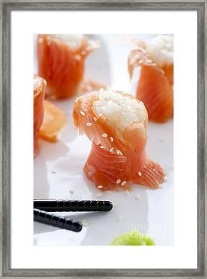 Salmon Sushi Framed Print by Charlotte Lake