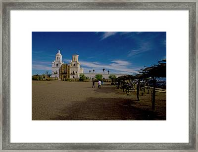 Framed Print featuring the photograph San Xavier Del Bac Mission by Tom Singleton