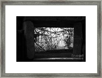 sandbagged wall and firing points across no mans land and restricted area of the UN buffer zone Framed Print