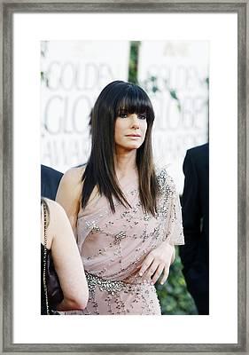 Sandra Bullock Wearing A Jenny Packham Framed Print by Everett