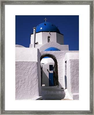 Framed Print featuring the photograph Santorini Church Greece by Colette V Hera  Guggenheim