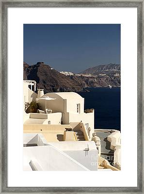 Santorini View Framed Print by Leslie Leda