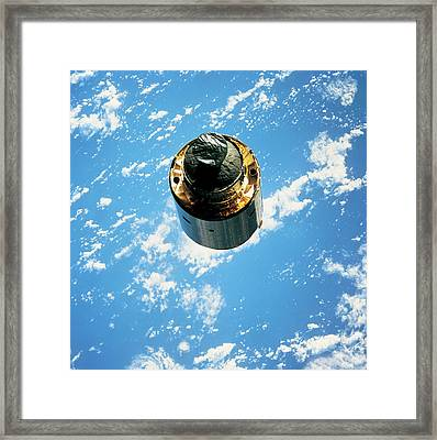 Satellite In Orbit Around The Earth Framed Print by Stockbyte