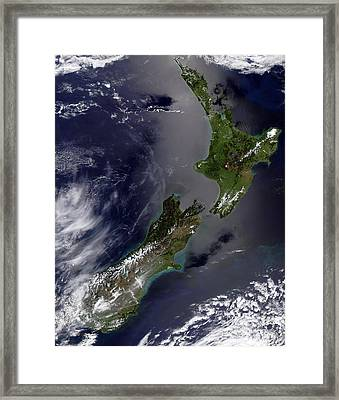 Satellite View Of New Zealand Framed Print