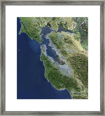Satellite View Of San Francisco Framed Print