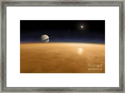 Saturn Above The Thick Atmosphere Framed Print