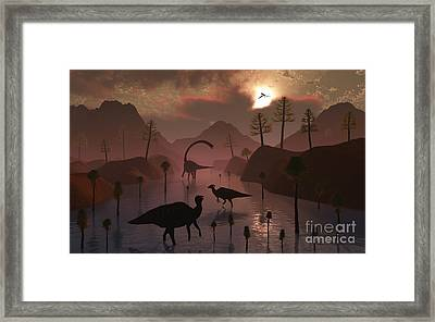 Sauropod And Duckbill Dinosaurs Feed Framed Print