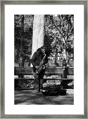 Sax Man Of Central Park In Black And White Framed Print by Rob Hans