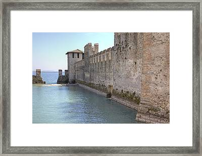 Scaliger Castle Wall Of Sirmione In Lake Garda Framed Print
