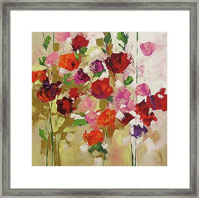 Scarlet Roses Framed Print by Linda Monfort