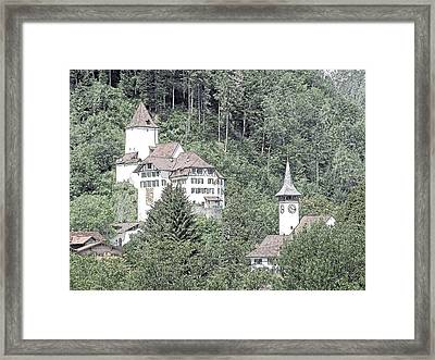 Schloss Wimmis And Church Switzerland Framed Print by Joseph Hendrix
