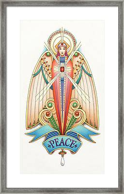 Scroll Angels - Pax Framed Print by Amy S Turner