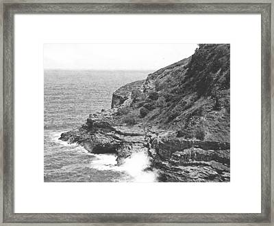 Sea Cave And Nesting Boobies Framed Print