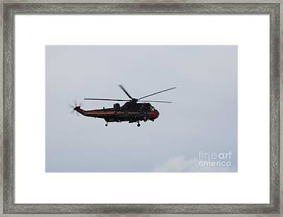 Sea King Helicopter Of The Belgian Army Framed Print