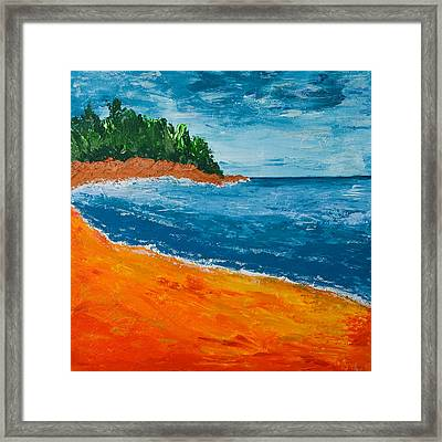 Framed Print featuring the painting Seascape by Judi Goodwin